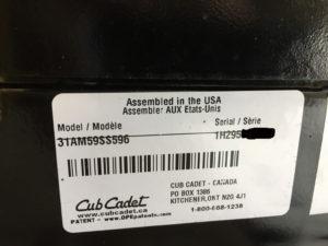 Cub Cadet 596